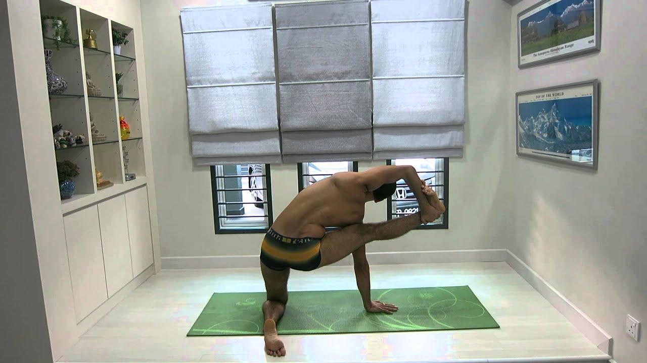 Advanced Hatha Yoga Face Under The Body Foot Behind Head Chin Lock Pose Through Gate