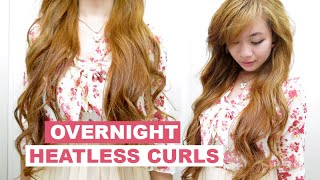 Heatless Overnight Curls l Beachy Waves for Medium Long Hair l How to Curl Hair with Socks