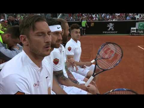 """I giocatori della Roma al Foro Italico per """"Tennis with stars"""". Presenti Totti, De Rossi, Florenzi"""