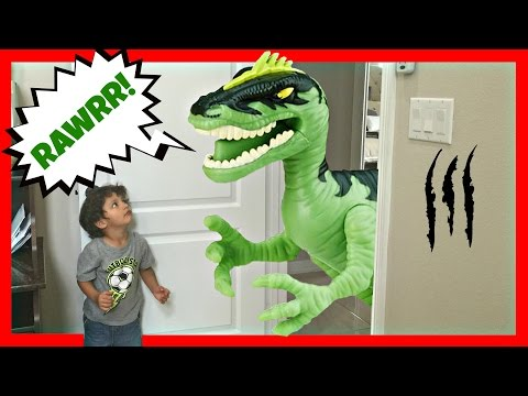 Thumbnail: GIANT Life Size Dinosaurs Toys Attacks - Real Kids Jurassic Adventure Park Family Fun