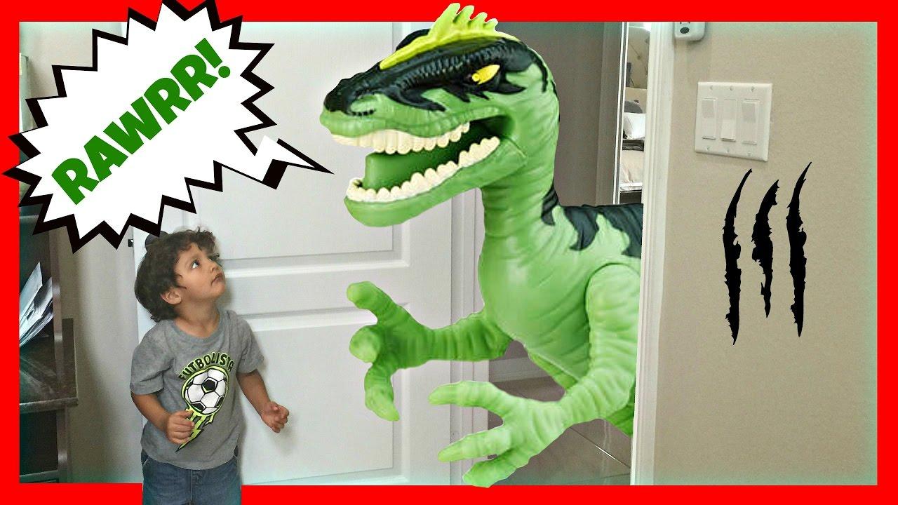 GIANT Life Size Dinosaurs Toys Attacks - Real Kids Jurassic Adventure Park Family Fun