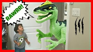 giant life size dinosaurs attacks real kids jurassic amusement park family fun