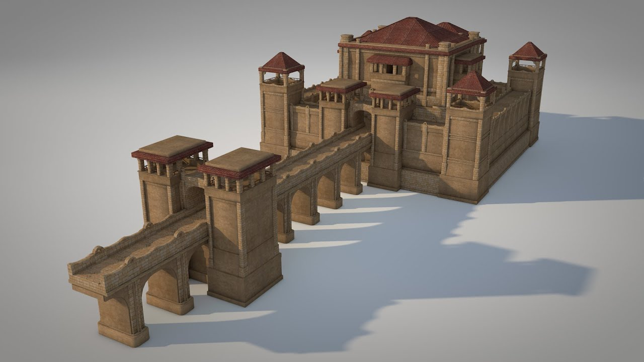 Small castle cinema 4d model flow graphics youtube for Small chateau
