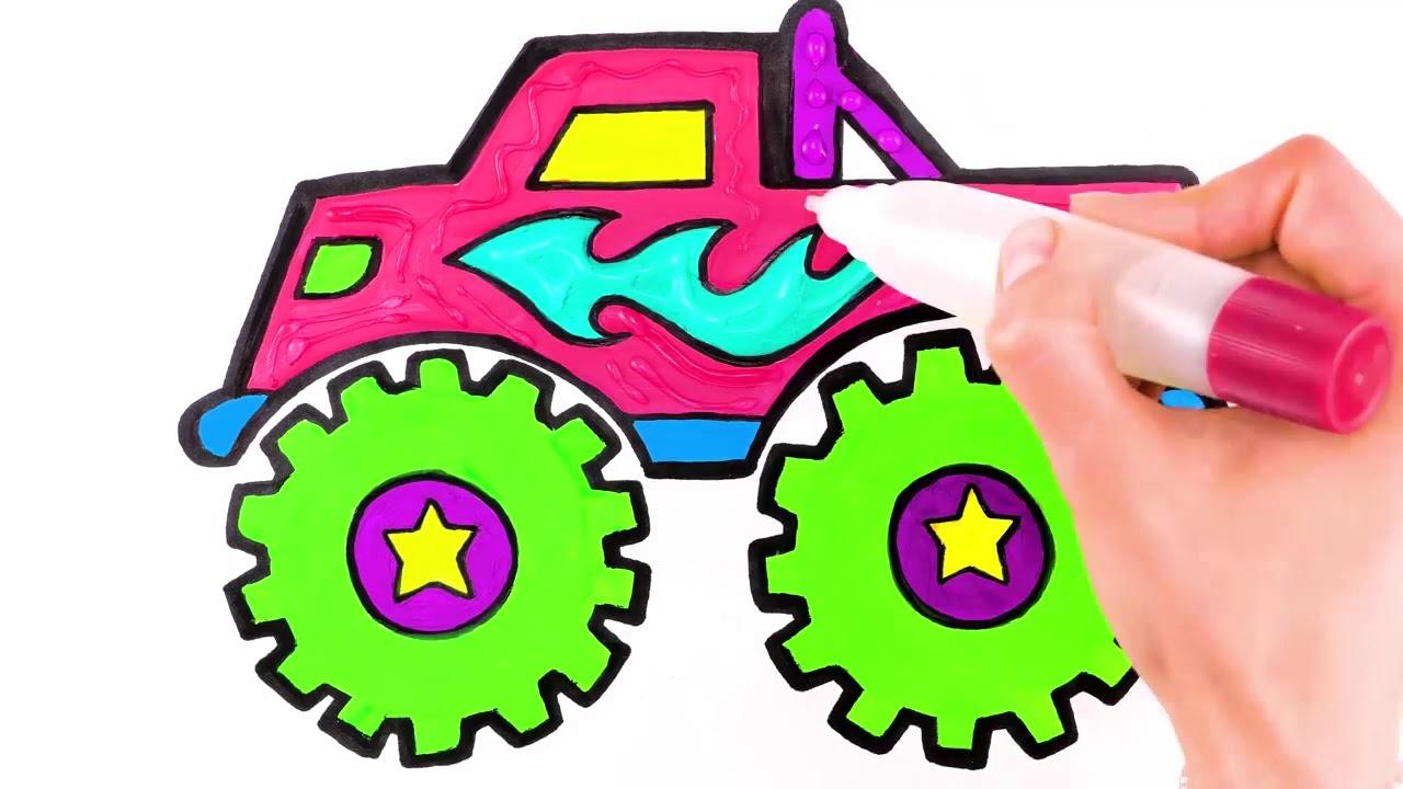 Монстр грузовик, раскраски и рисование для детей - YouTube