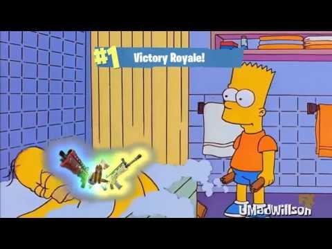 Bart le gana a Homero en Fortnite xd