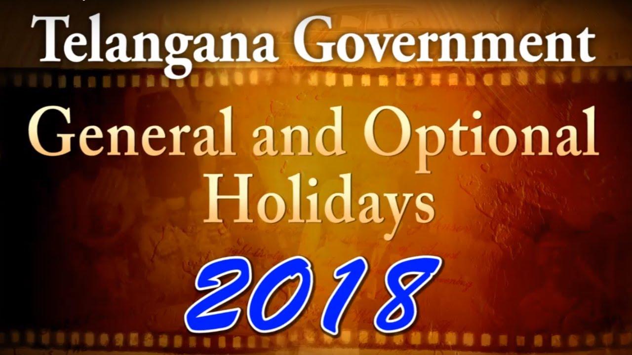 telangana govt holidays calendar 2018