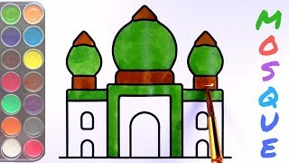 MOSQUE Drawing For Kids || How to mosque drawing easy for kids Colouring step by painting masjid