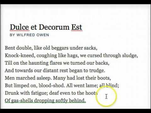 Wilfred Owens Poem Dulce Et Decorum Est Youtube