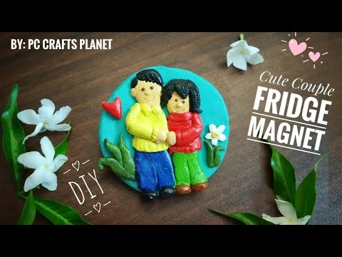 Cute Couple fridge magnet DIY| How to make fridge magnets at home from clay| craft ideas