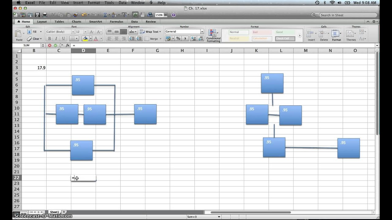 aoa diagram excel calculating reliability with backups - youtube #2