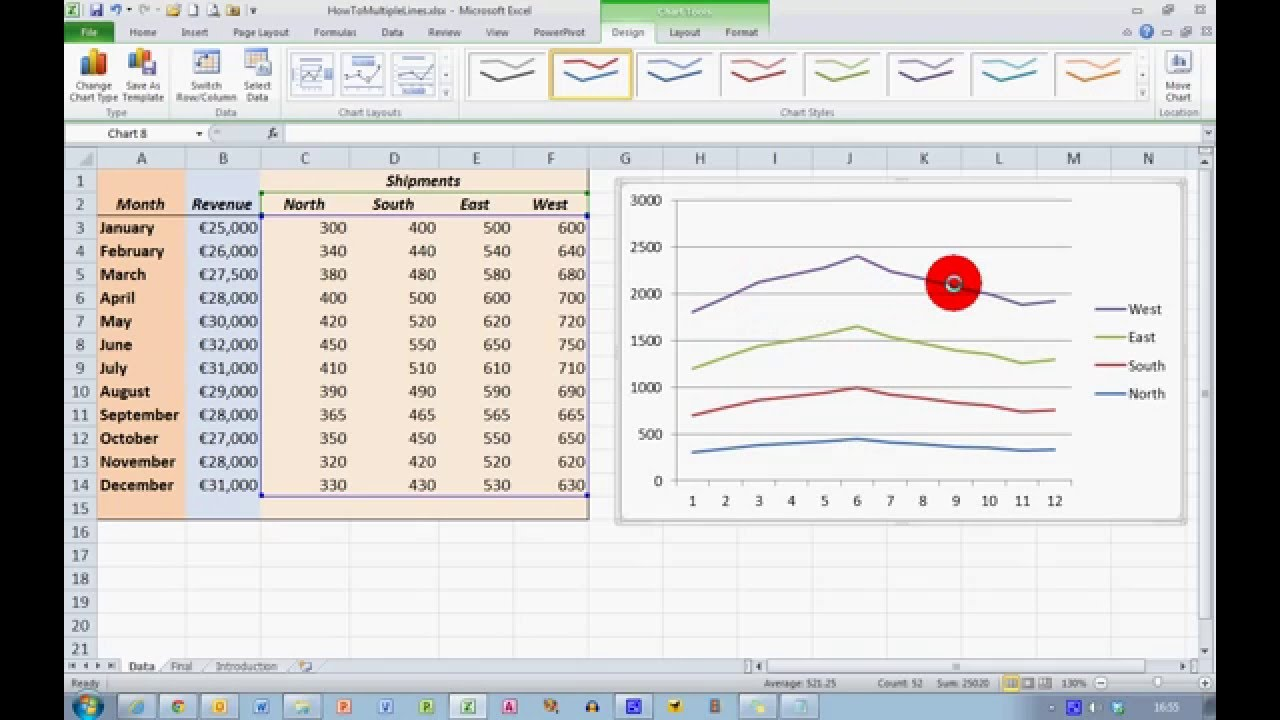 How To... Plot Multiple Data Sets on the Same Chart in Excel 2010 - YouTube