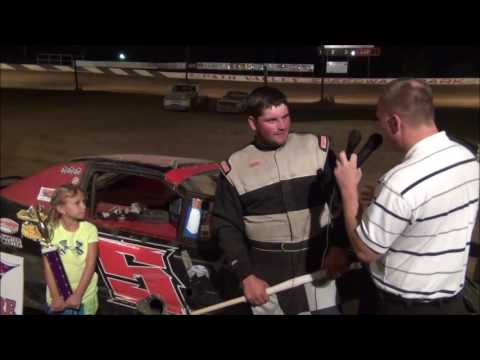 Garrett Watkins in victory lane at Path Valley 8-26-16