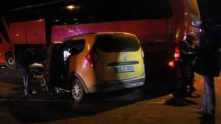 Yolcu Otobüsü İle Taksi Çarpıştı