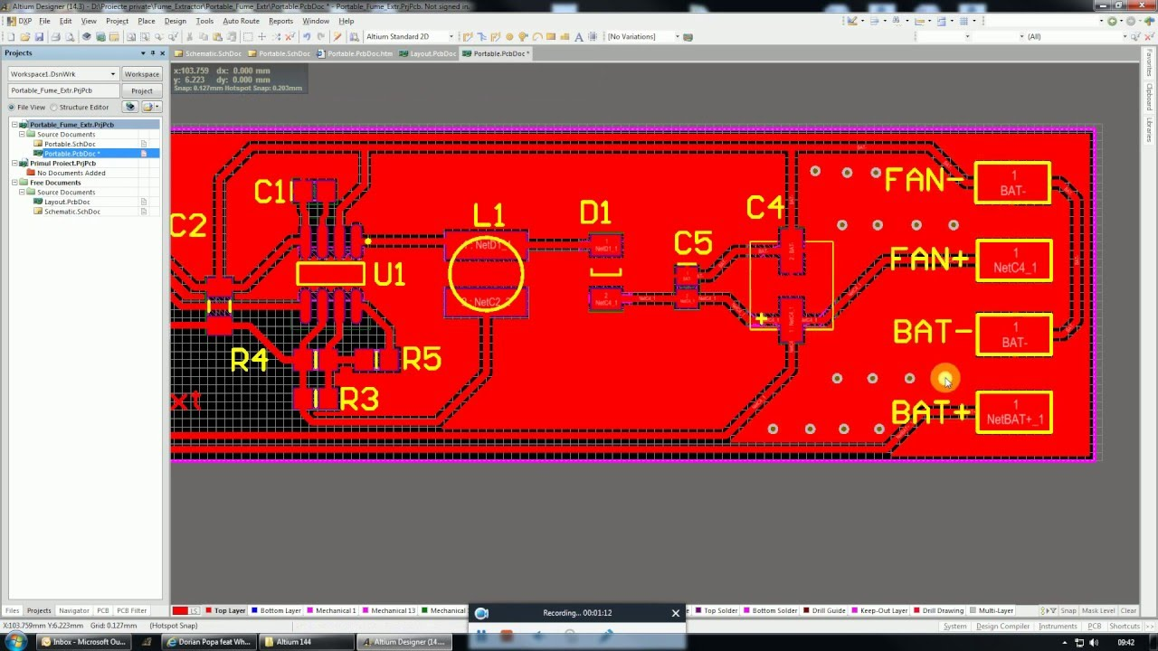 Altium Tutorial 7-How to use vias,setting hole size for more pads in Altium  (romana)