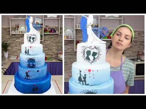 """💙👰Свадебный торт """"История любви""""💙. Использование фальш-яруса - Я - ТОРТодел!"""