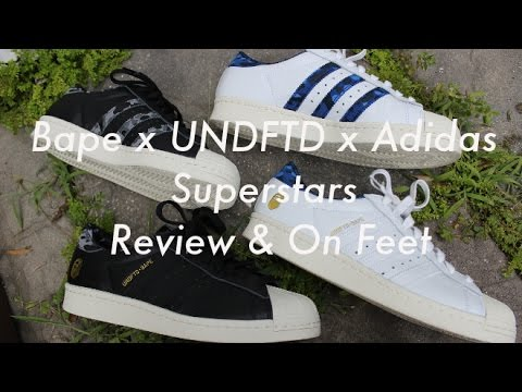 Adidas x Bape x Undefeated Superstars Review & sobre pies YouTube