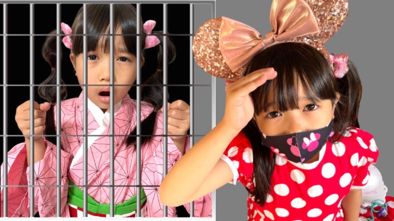 まりちゃん禰豆子が牢屋に閉じ込められた! ミッションはアンパンマンたちを探し出すこと! みんなどこに行っちゃったの? おでかけ 教育 逃走中ごっこ かくれんぼ