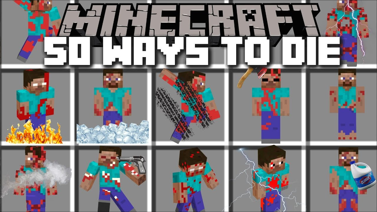 Minecraft 50 WAYS TO DIE MOD / CLONE YOURSELF AND DIE IN MANY DIFFERENT WAYS!! Minecraft