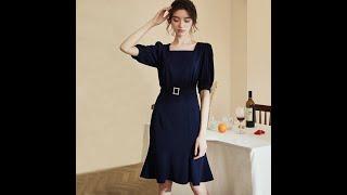 Элегантное платье для работы деловой стиль повседневная летняя одежда квадратный воротник