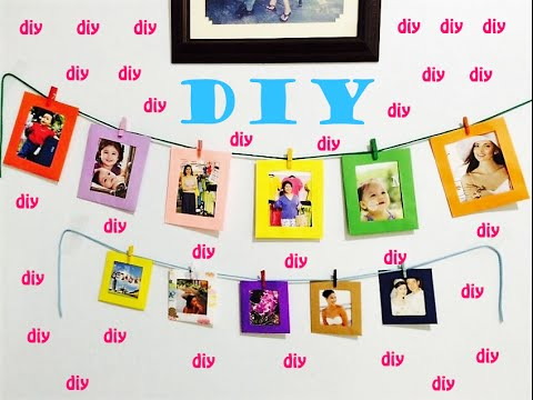 DIY How to make HANGING WALL PAPER PHOTO ALBUM FRAME Tutorial - YouTube
