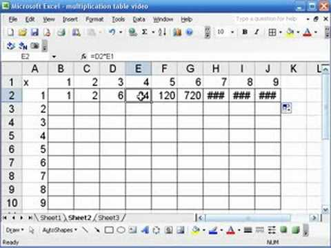 Excel For Math Classes Multiplication Tables Youtube