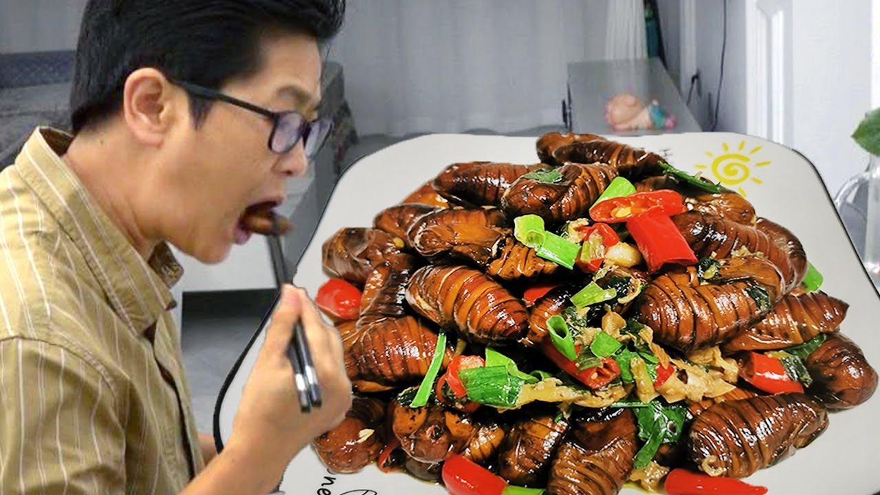 听说蚕蛹很有营养?九九做个爆炒蚕蛹,出锅太香了,第一次吃就爱上!【湘西九九美食】