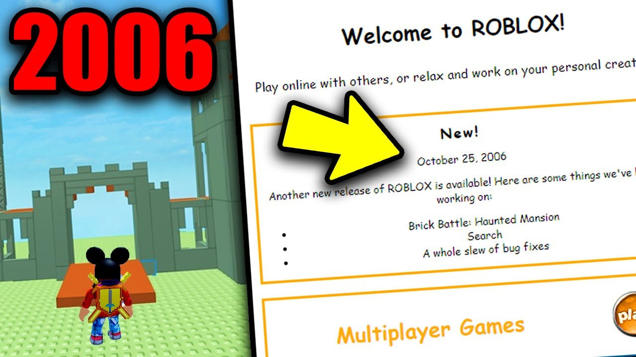 Playing The Oldest Version Of Roblox 2006 Roblox Update Youtube
