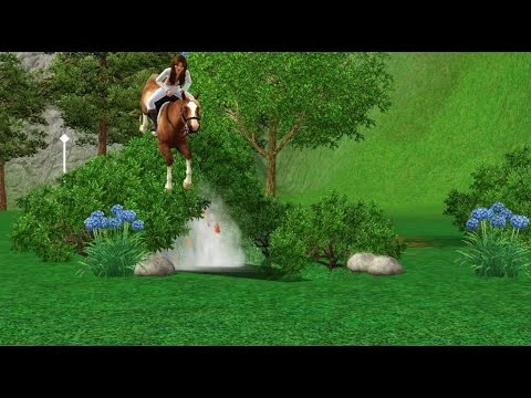 Sims 3 Tutorials | How to build a small waterfall horse jump.