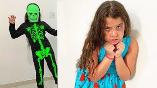 SARAH BRINCA de Green Body Suit com SEU PAPAI