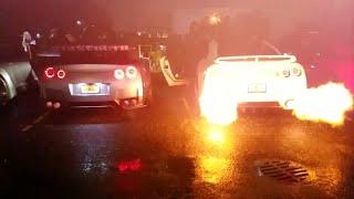 Five GTR's Spitting Flames During Rev Battle!