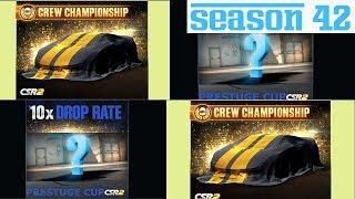 NEXT CSR2 UPDATE??,  SEASON 42 CREW PRIZE AND PRESTIGE CUP CAR | CSR RACING 2
