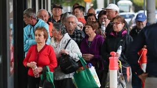 Coronavirus kindness - elderly shoppers get to front of supermarket queue.