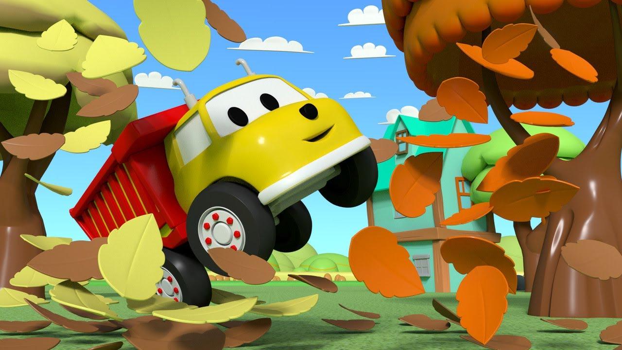 교육 카툰 -  색깔 배우기 - 이탄이 떨어진 잎을 가지고 놀고 있어요  3D 덤프트럭 장난감으로 배우는 교육 비디오