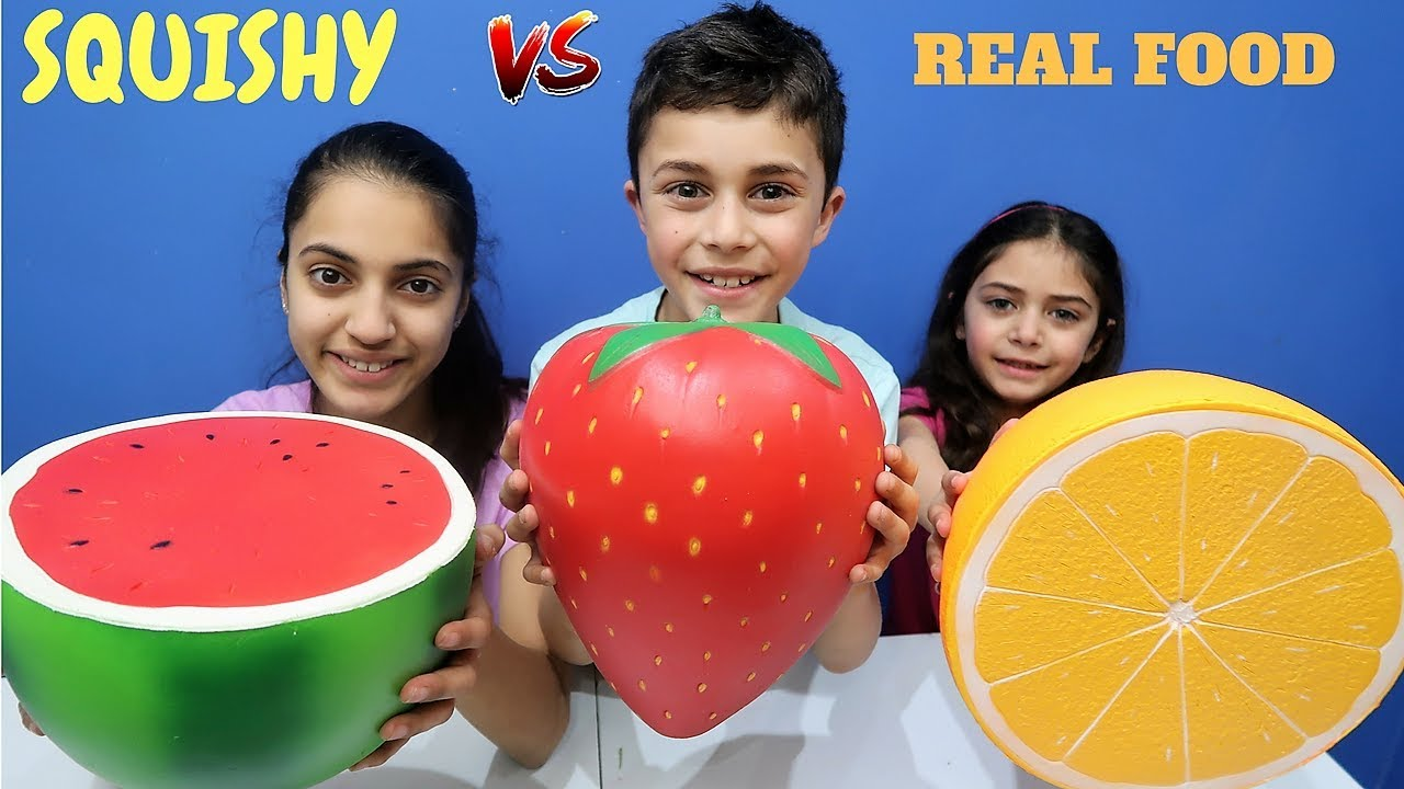 Squishy Toys Vs Real Food : SQUISHY FOOD vs REAL FOOD Challenge 2!!! HZHtube Kids Fun - YouTube