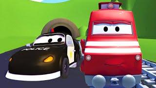 Troy o Trem e Mat, o Carro de Polícia na Cidade do Carro | desenhos animados para crianças