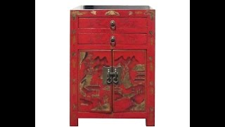 Red Chinese Lanscape Gold Painting Nightstand End Table Cabinet Wk2872