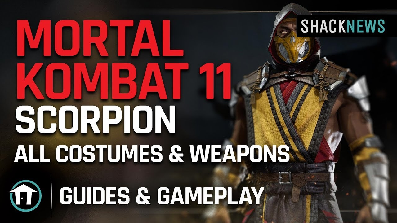 Mortal Kombat 11 Scorpion All Costumes Weapons Youtube