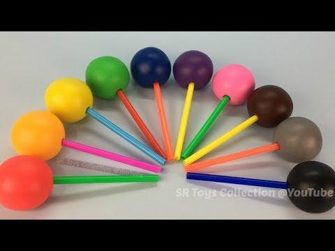 Learn Colours with Rainbow Play Dough Lollipops