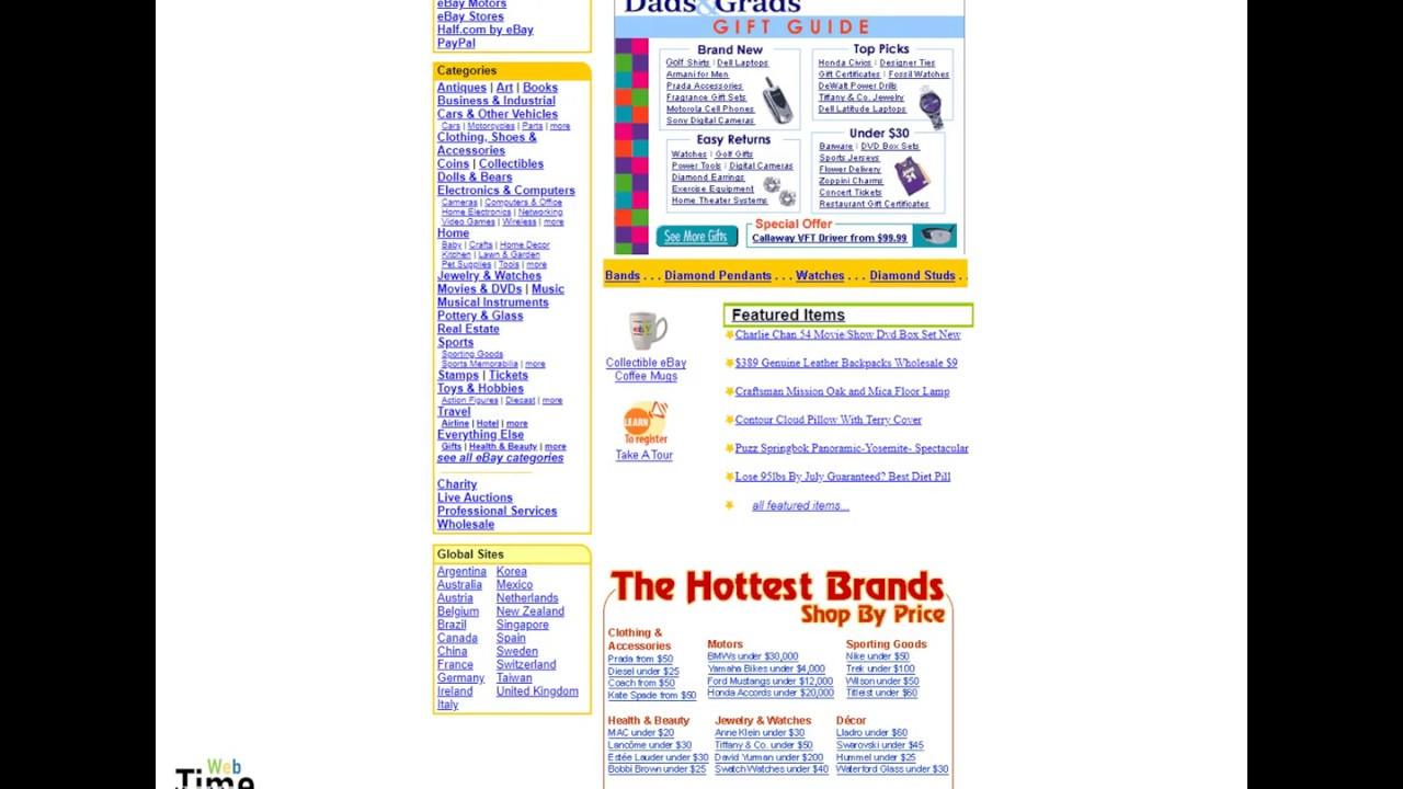 Ebay Start Screen Evolution Since 1997 Youtube