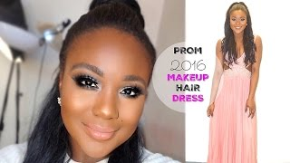 Drugstore Prom Makeup  I Prom get ready with me hair , dress 2016