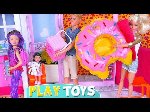 Barbie Girl, Ken and Skipper Dolls Camper Van Day Trip! Funny Kids Pretend Play🎀