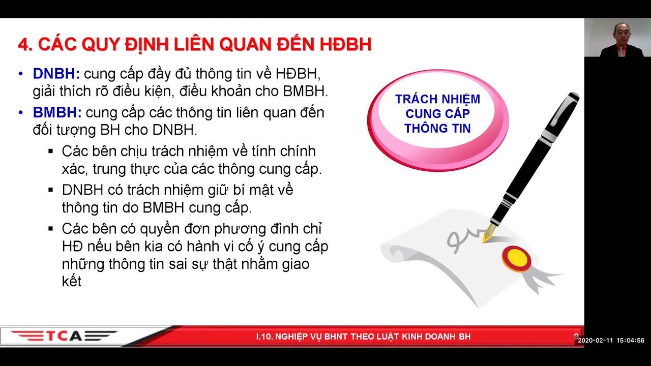 I.10 Các nghiệp vụ BHNT theo Luật Kinh Doanh Bảo Hiểm