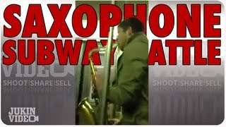 Saxophone Battle On NYC Subway