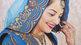 Indian Bride Portrait Painting - How to Paint Eyes And Mouth