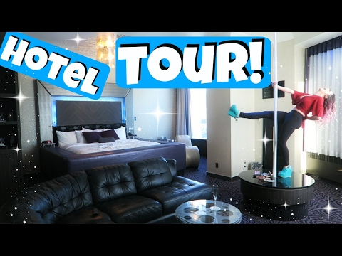 Hollywood Hotel Room Tour + STRIPPER POLE