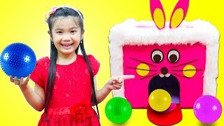 Hana Pretend Play with Giant Pink Rabbit Carnival Bowling Game for Toy Prizes