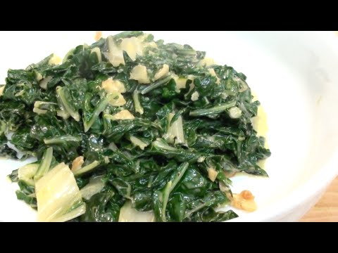 CREAMY GARLIC SILVER BEET / CHARD RECIPE - SIDE DISH