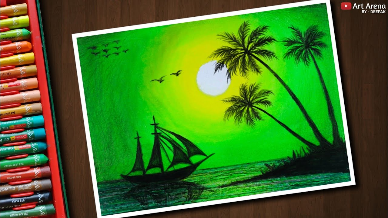 Green Scenery Drawing for beginners with Oil Pastels ...