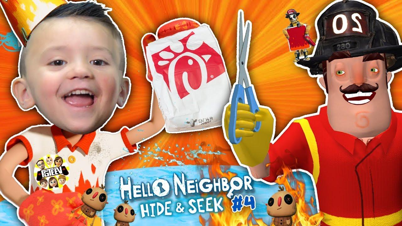 Hello Neighbor cuts Shawns Hair!! Fireman helps FGTEEV beat Hide and Seek Stage 3