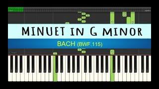 minuet in G minor bwf 115 - bach - piano tutorial